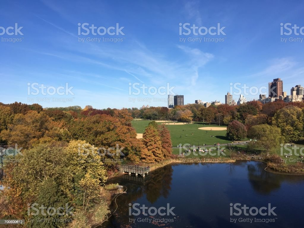 View of Central Park New York from Belvedere Castle.  Looking down on Turtle Pond and The Great Lawn in iconic Central Park NYC. stock photo