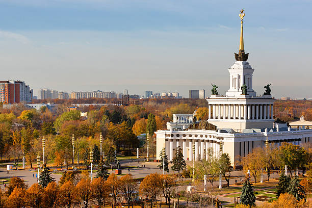 View of Central Pavilion at the VDNKH in Moscow stock photo