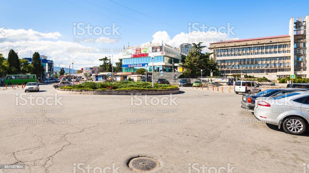 view of central Sovetskaya Square in Alushta city stock photo