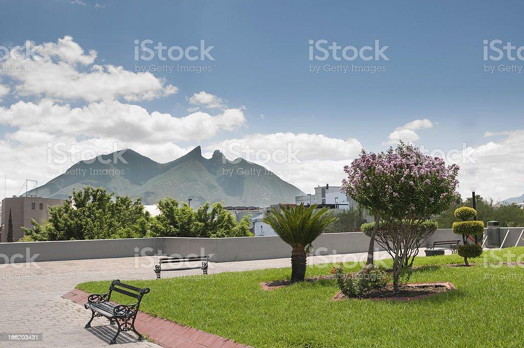 View of Cerro de la Silla, Monterrey from a park area stock photo