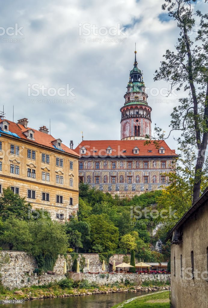 View of Cesky Krumlov castle tower stock photo