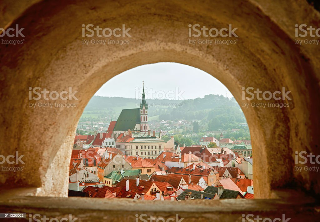 View of Cesky Krumlov from a Window stock photo