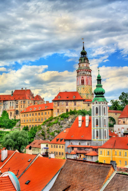 View of Cesky Krumlov town, a UNESCO heritage site in Czech Republic stock photo