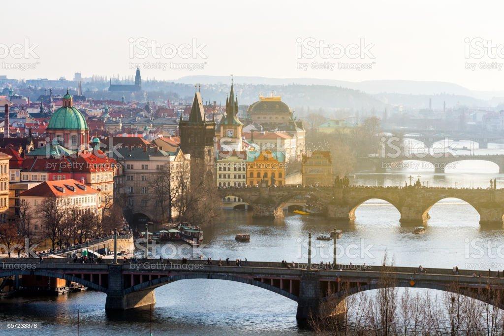 View of Charles Bridge (Karluv most) and Old Town Bridge Tower, Prague, Czechia stock photo