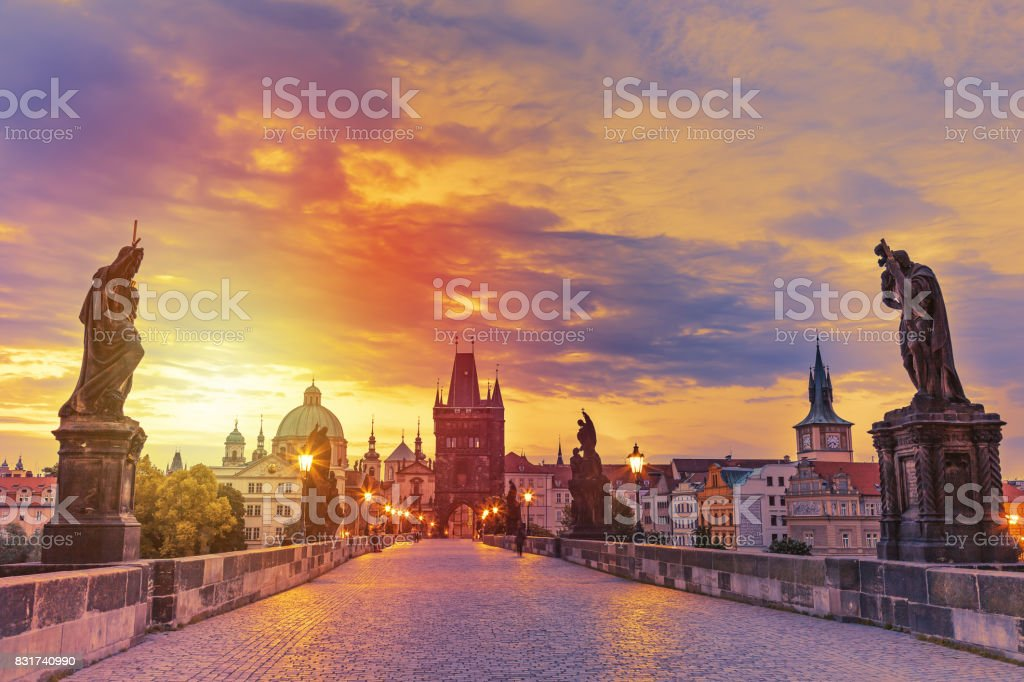 View of Charles Bridge in Prague during sunset, Czech Republic. The world famous Prague landmark. stock photo