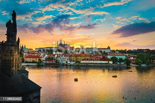 The sunset, the Vltava River, St. Vitus Cathedral,Dusk, Charles bridge, Prague