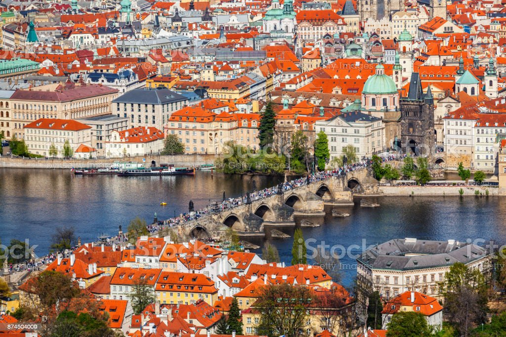 View of Charles Bridge over Vltava river and Old city from Petri stock photo