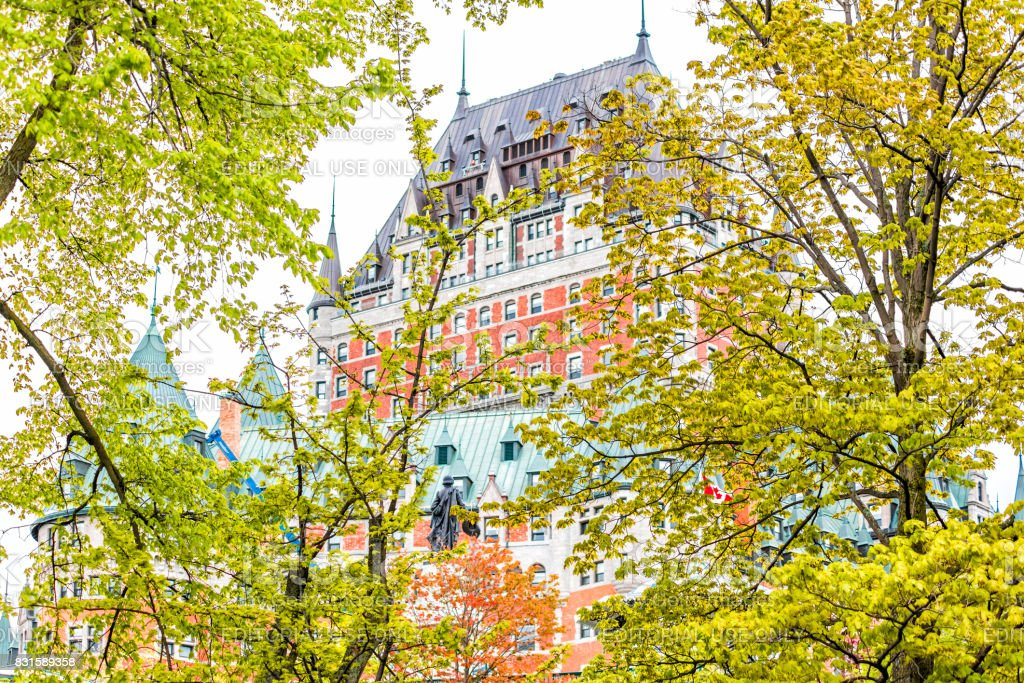 View of Chateau Frontenac by old town Montmorency Park National Historic Site stock photo