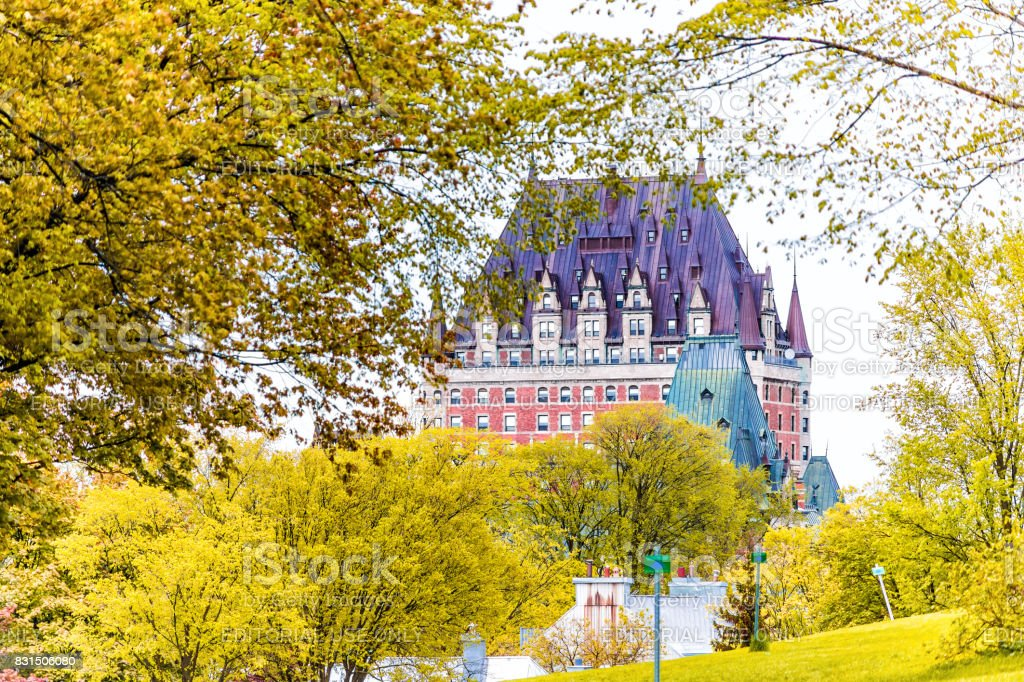 View of Chateau Frontenac by old town with golden autumn trees stock photo