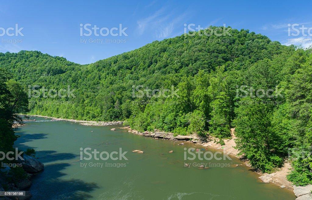 View of Cheat River from Jenkinsburg Bridge stock photo