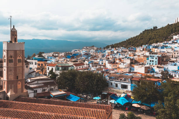 View of Chefchaouen city from Kasbah tower, Morocco stock photo