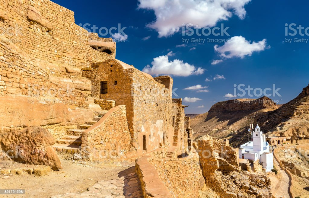 View of Chenini, a fortified Berber village in South Tunisia stock photo
