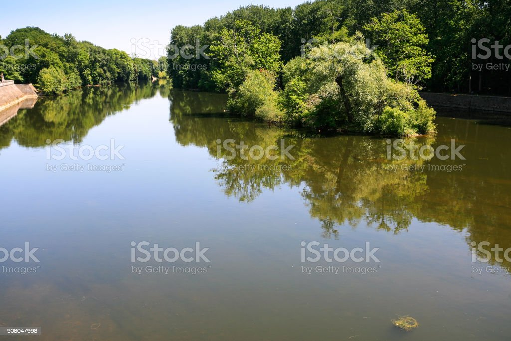 view of Cher river in summer day stock photo