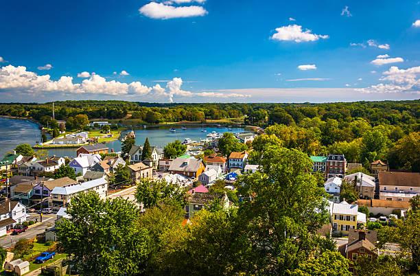 View of Chesapeake City from the Chesapeake City Bridge, Marylan stock photo