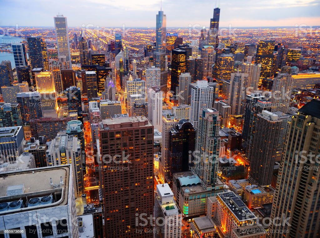View of Chicago downtown at twilight from high above stock photo