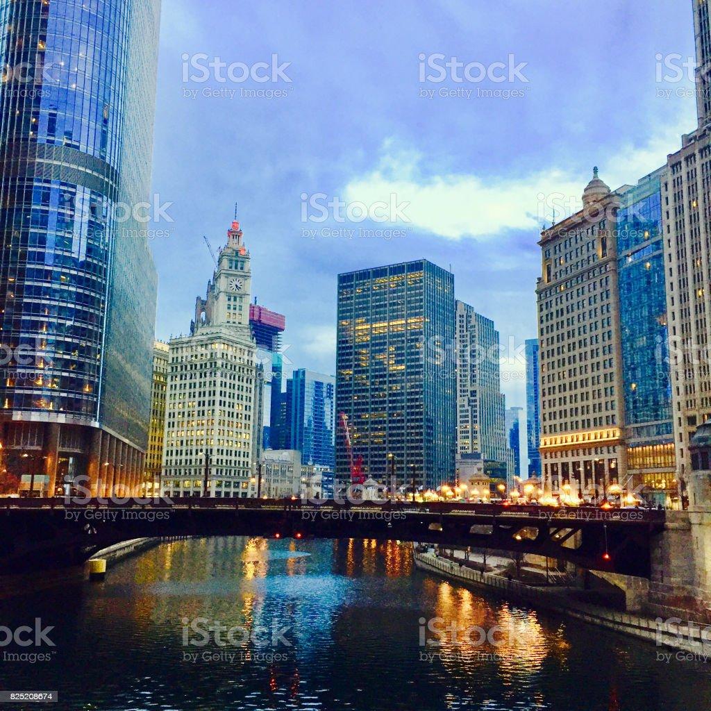 View of Chicago River and Wabash Avenue Bridge stock photo