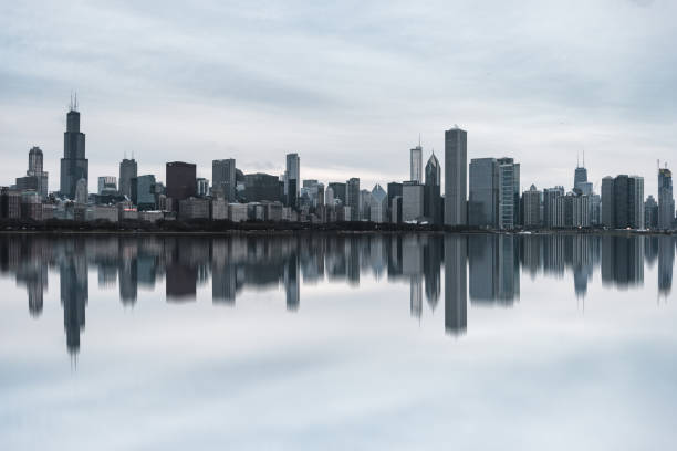 View of Chicago Skyline at Daytime stock photo