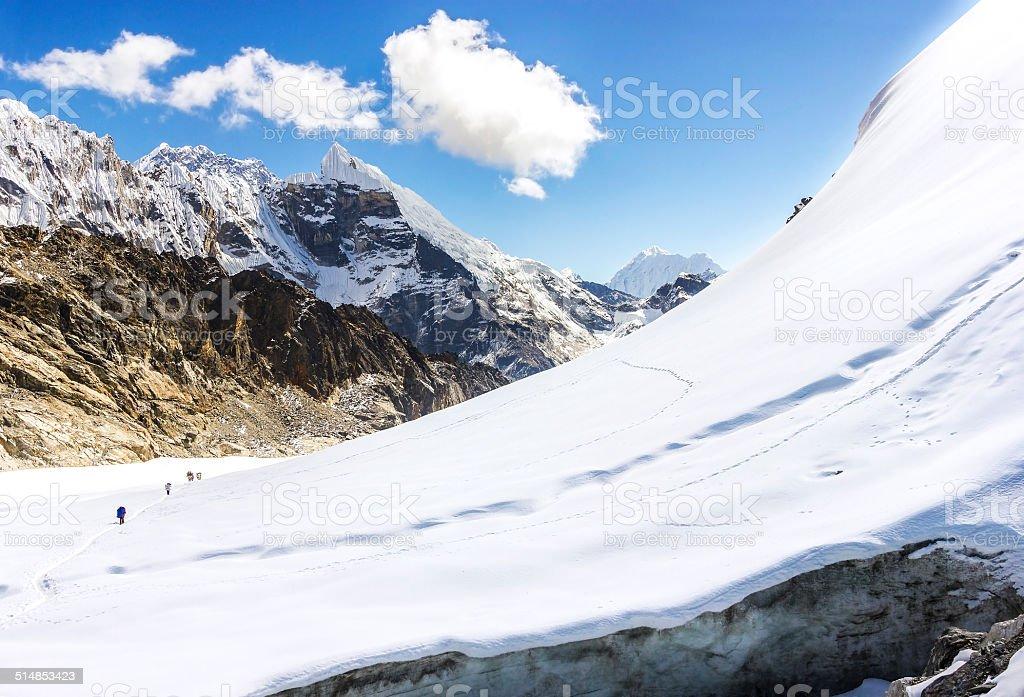 View of Cho La pass, Himalayas in Nepal. stock photo