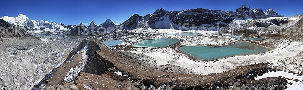 view of Cho Oyu base camp with lakes stock photo