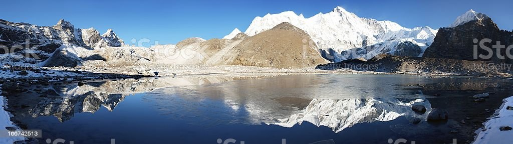 view of Cho Oyu mirroring in lake stock photo
