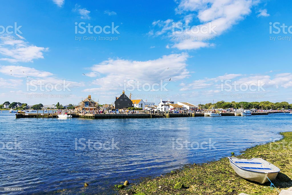 View of Christchurch town on a sunny day stock photo