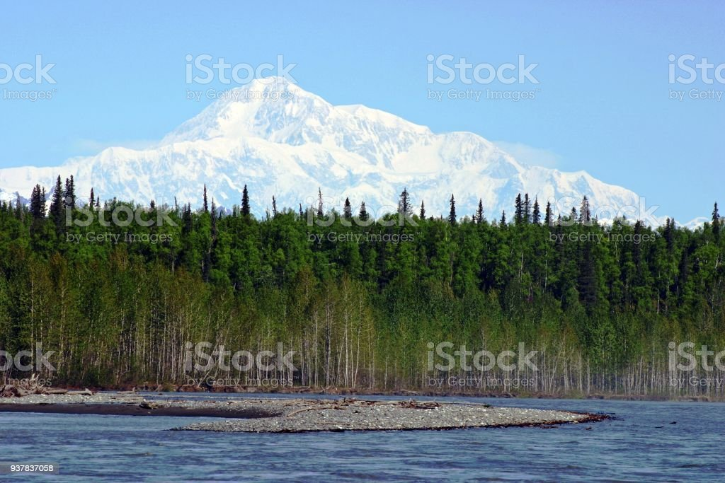 View of Chulitna River and Mount Denali in Alaska,  USA stock photo