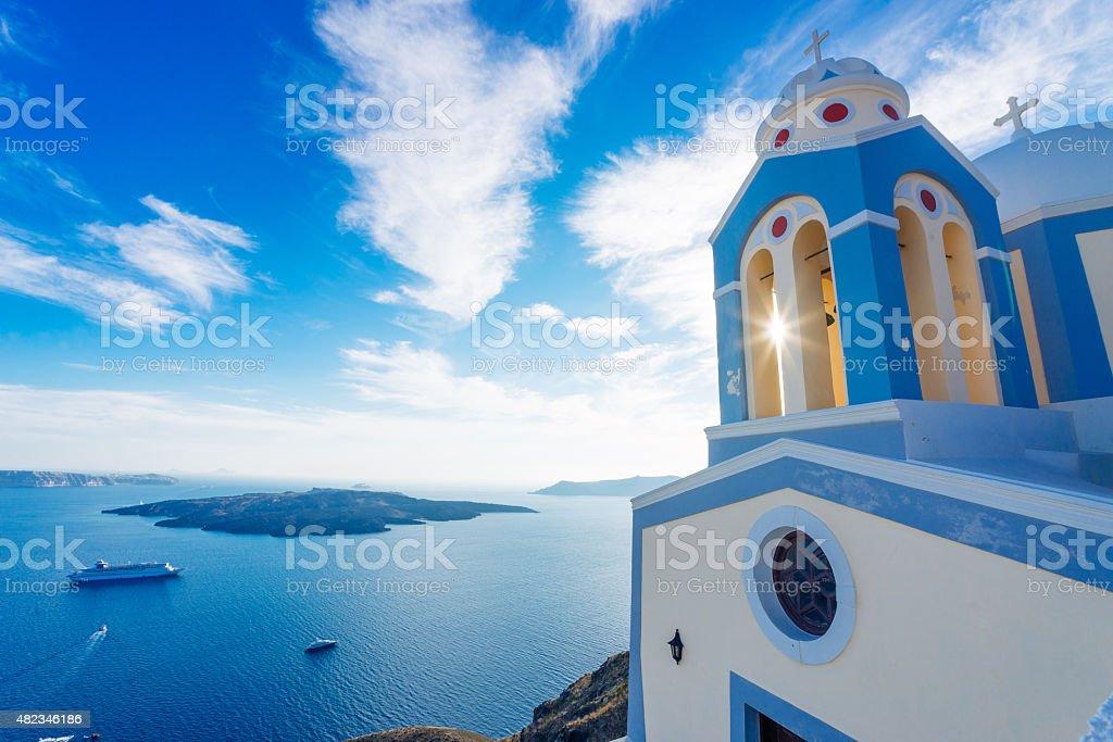 View of church and Santorini caldera stock photo
