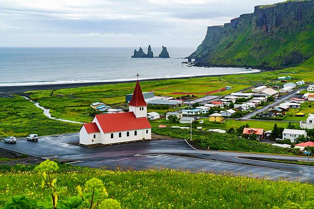 View of church at the village of Vik – Foto