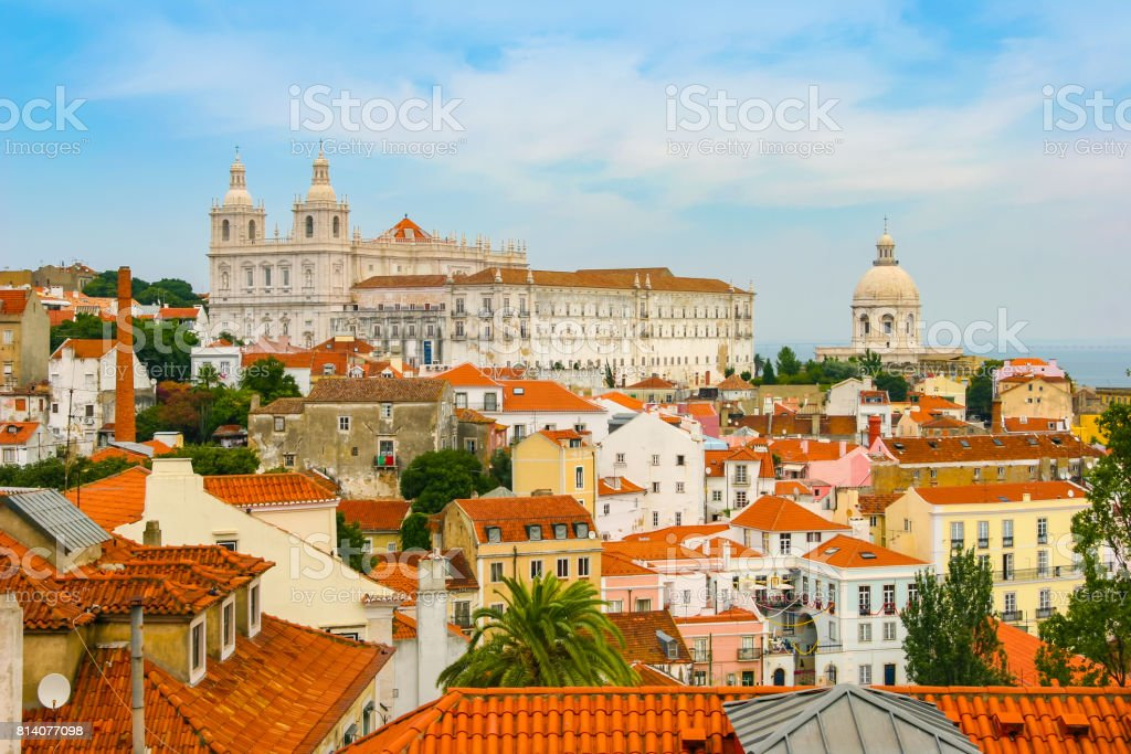 View of Churches in Old Quarter of Lisbon, Portugal stock photo