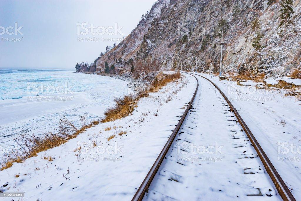 View of Circum-Baikal Railway at winter day time. stock photo