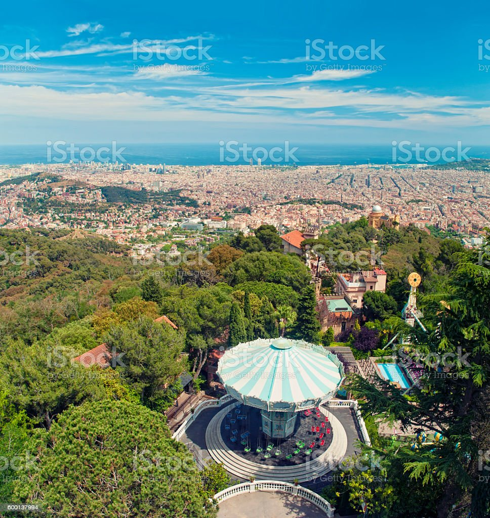 view of city and amusement park from top stock photo