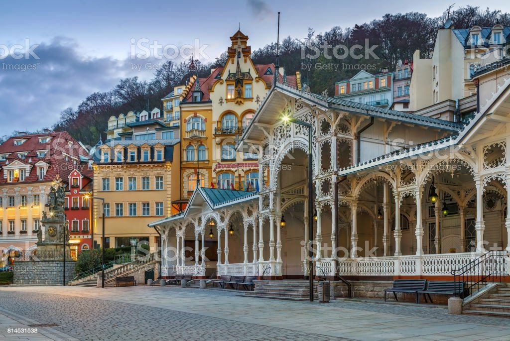 View of city centre of Karlovy Vary, Czech republic stock photo
