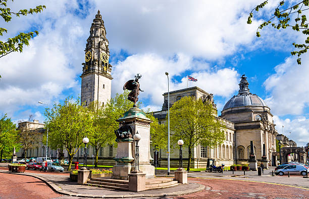 View of City Hall of Cardiff - Wales, Great Britain View of City Hall of Cardiff - Wales, Great Britain wales stock pictures, royalty-free photos & images