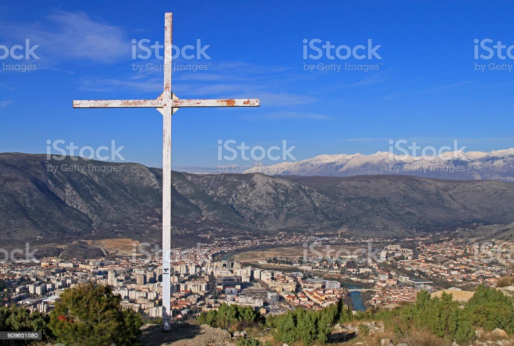 view of city Mostar from hill Hum stock photo