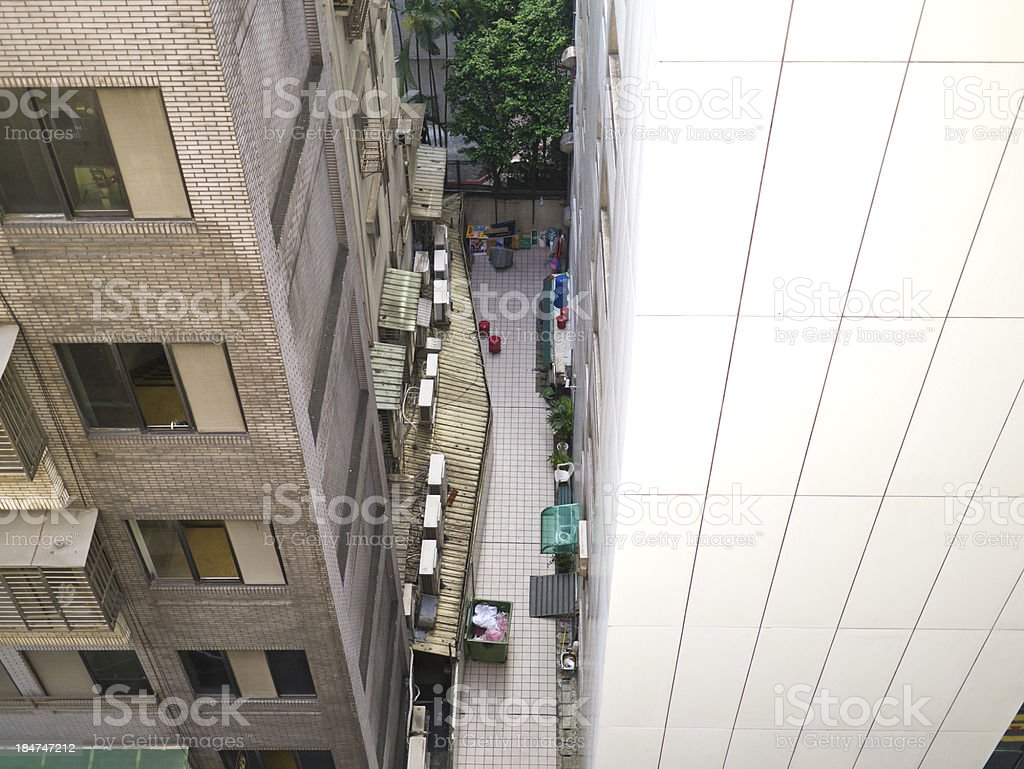 view of city narrow alley royalty-free stock photo