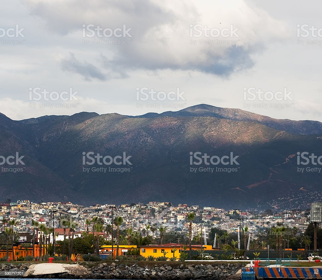 View of city of Ensenada, Mexico with Mountains in background stock photo