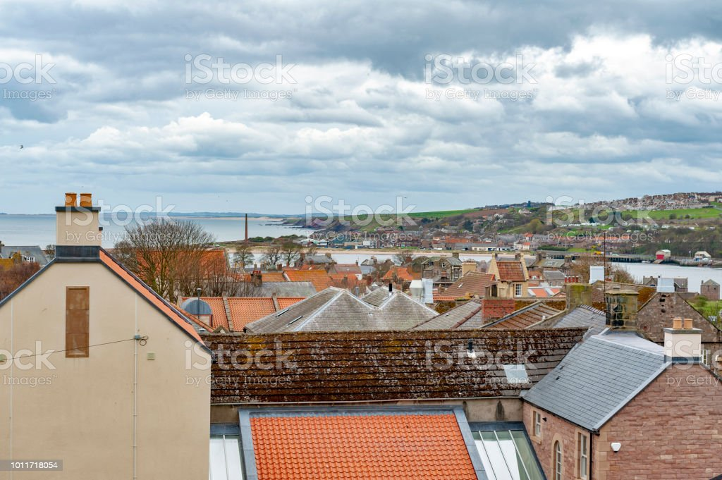 View of cityscape of Berwick-upon-Tweed, northernmost town in Northumberland at the mouth of River Tweed in England, UK stock photo