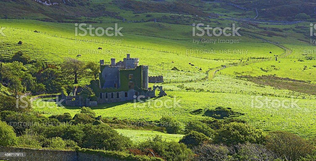 View of Clifden castle - Ireland stock photo