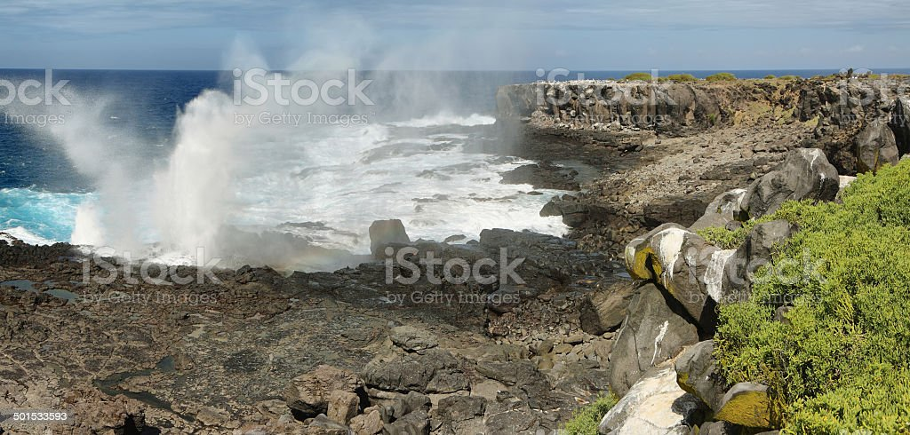 View of cliffs and blowhole in La Espanola island stock photo