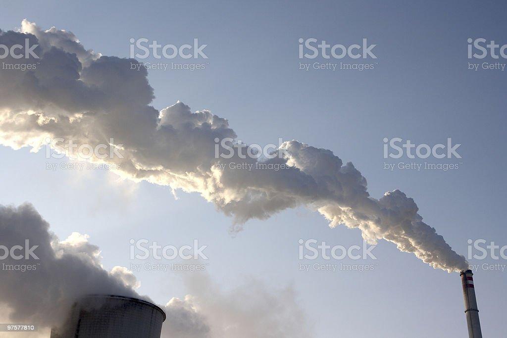 Vue du charbon powerplant fumée photo libre de droits