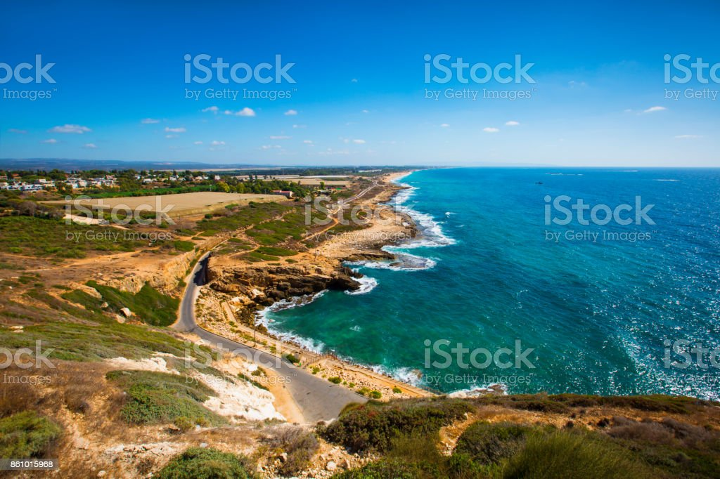 View of coast from Rosh Hanikra. Last point of the Israel sea border. stock photo