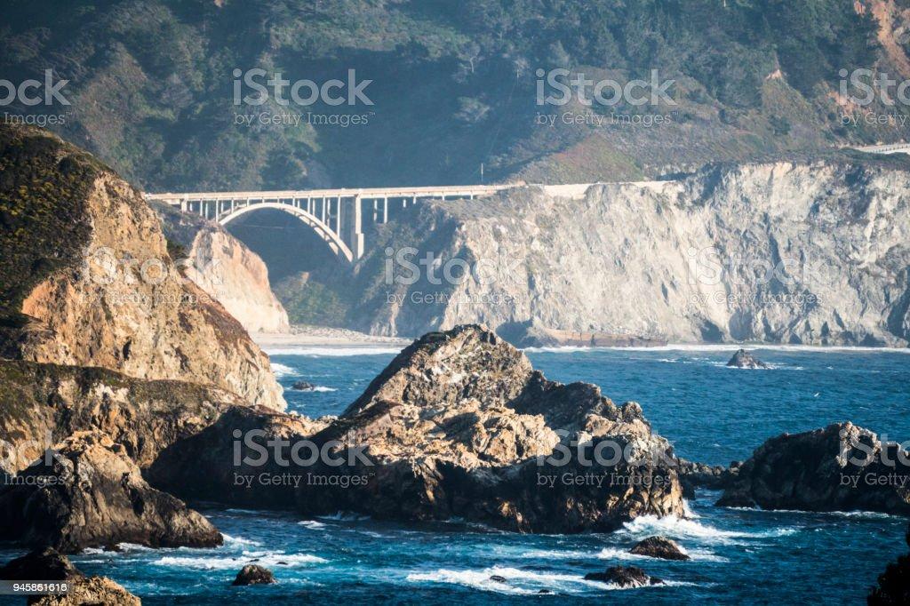 View of Coastline near Bixby Creek Bridge Near Big Sur stock photo