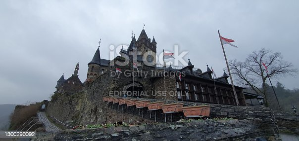 Cochem Germany January 2020, view of Cochem Castle on a foggy cold winter day