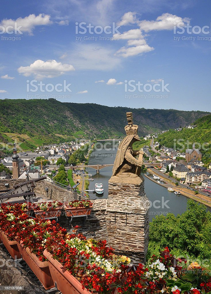 View of Cochem from hilltop stock photo