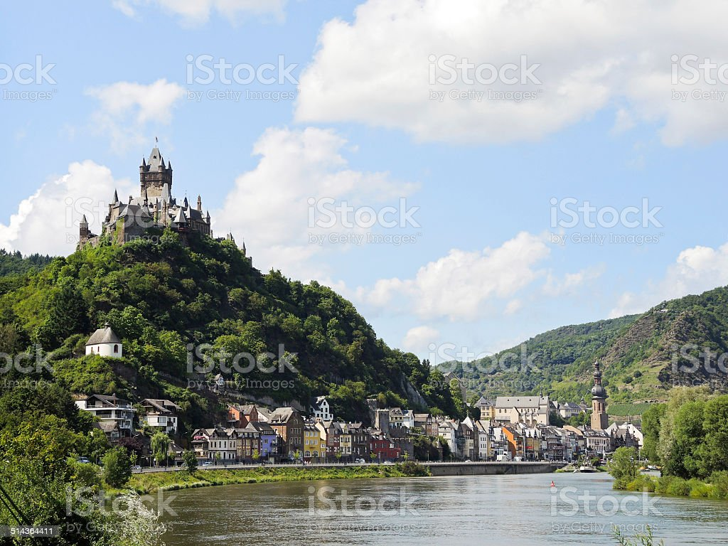 view of Cochem on Moselle river, Germany stock photo
