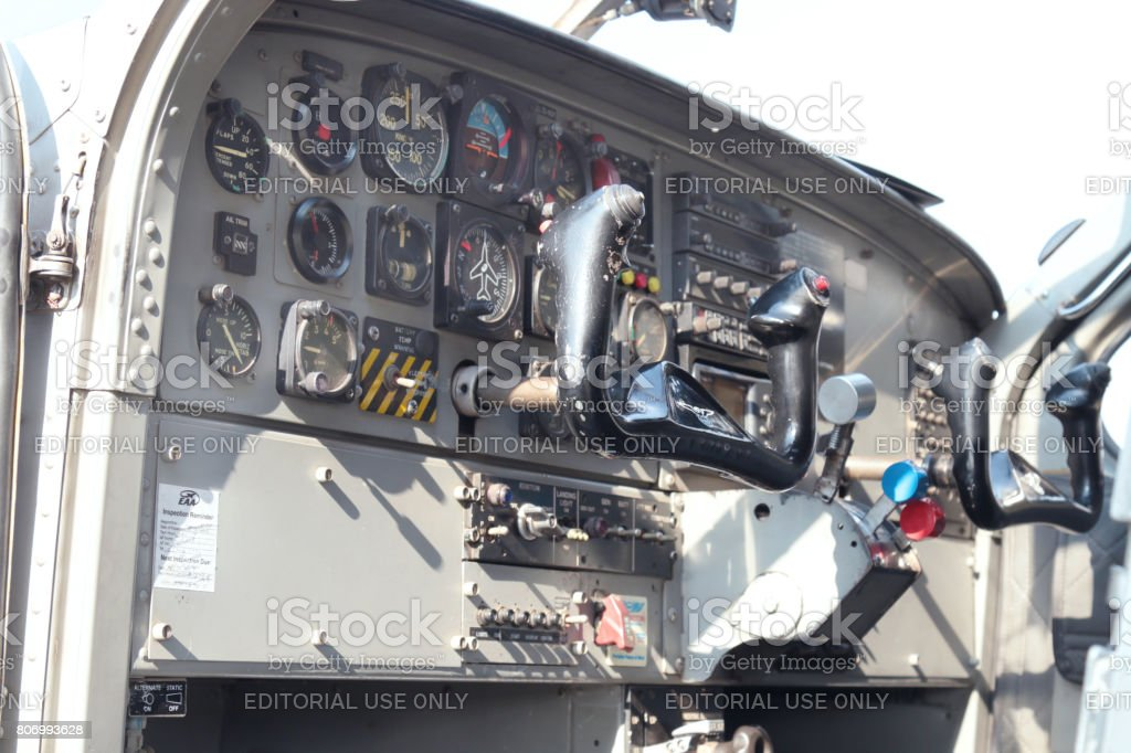 View of cockpit of a X328 Atlas Angel Turbine specially equipped aircraft for sky divers. stock photo