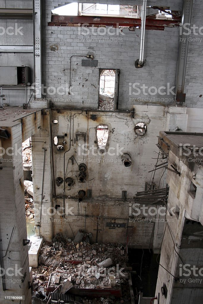 View of collapsed factory floors, looking down royalty-free stock photo