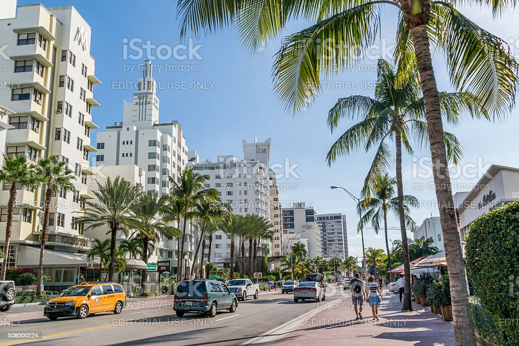 View of Collins Ave in Miami South Beach, Florida stock photo
