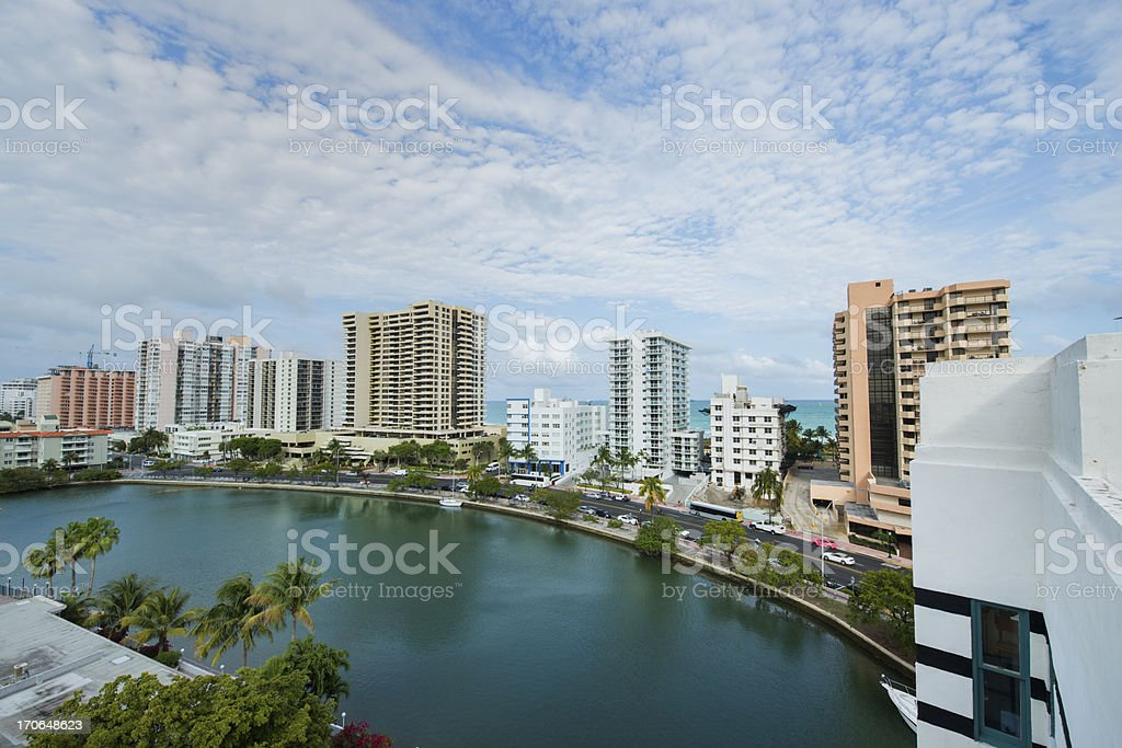 View of Collins Avenue on Miami Beach royalty-free stock photo