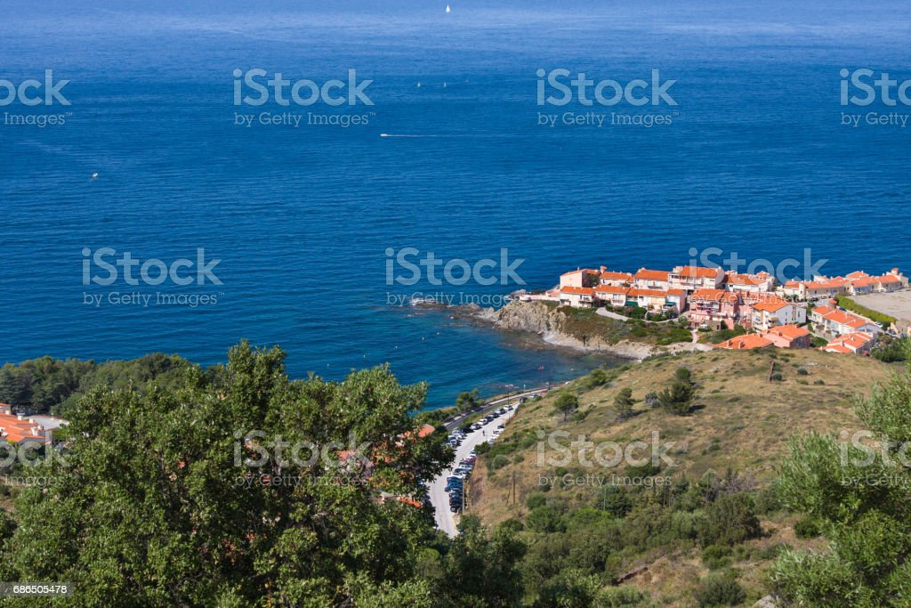 View Of Collioure, Languedoc-Roussillon, France, french catalan coast zbiór zdjęć royalty-free